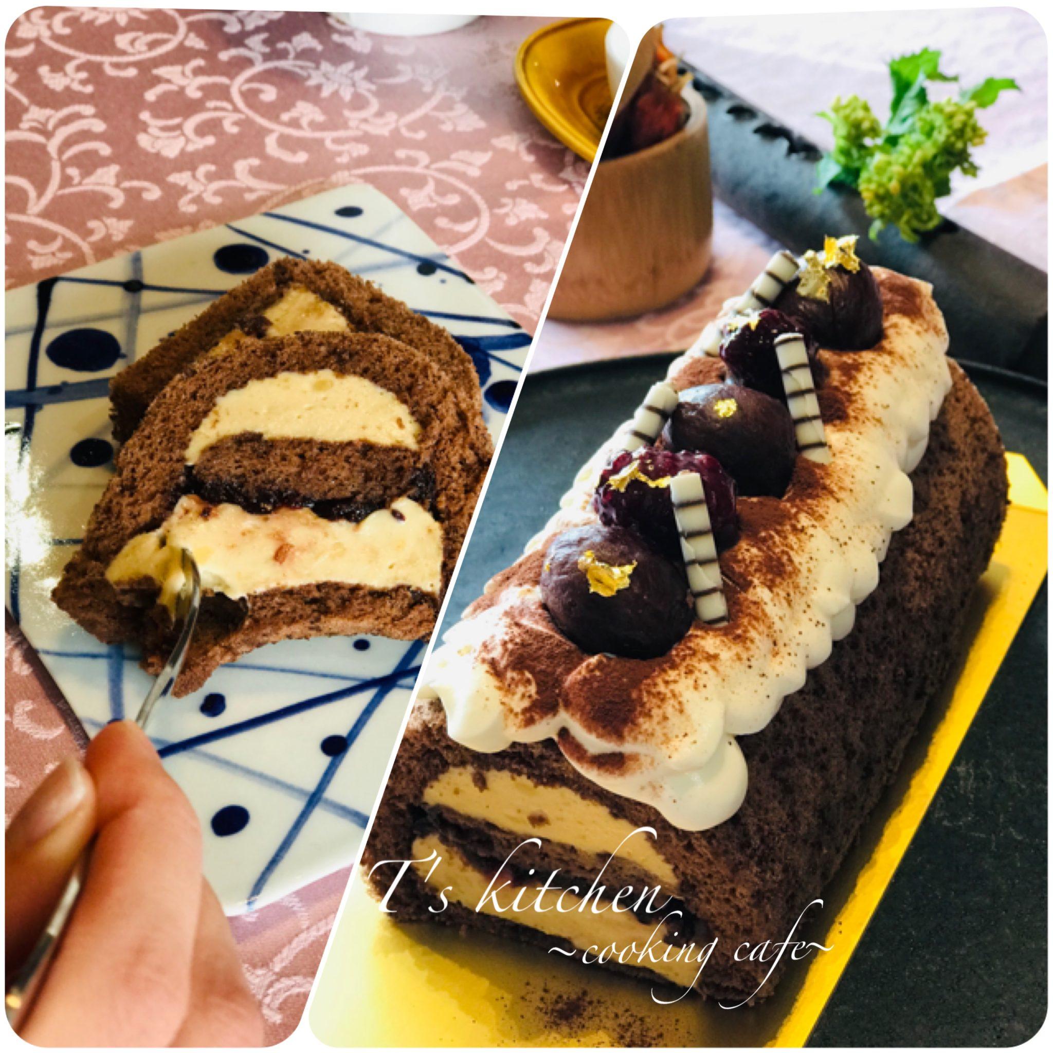 カシスとマロンの巻かないロールケーキ